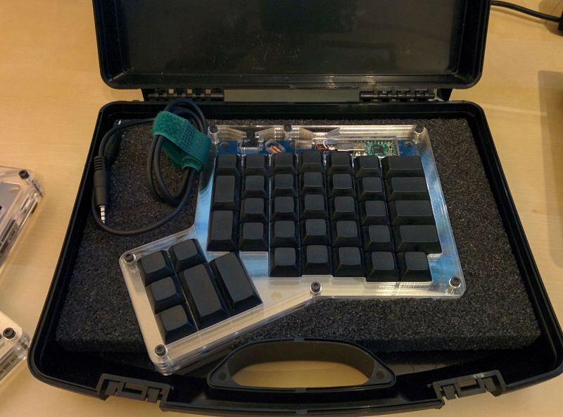 The right-hand keyboard in its case